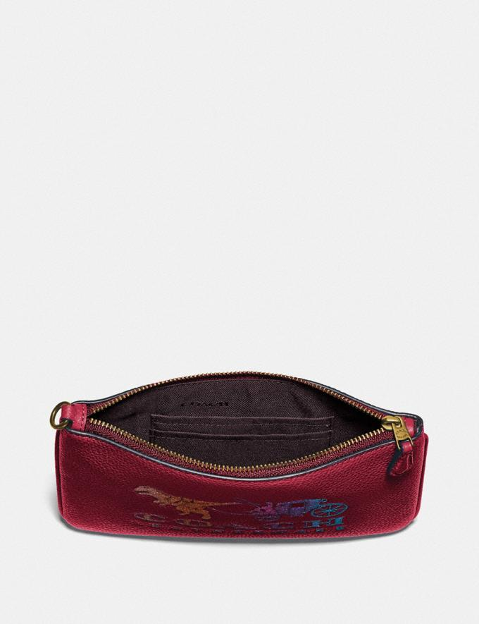 Coach Small Wristlet With Rexy and Carriage Brass/Deep Red New Featured Rexy Collection Alternate View 2
