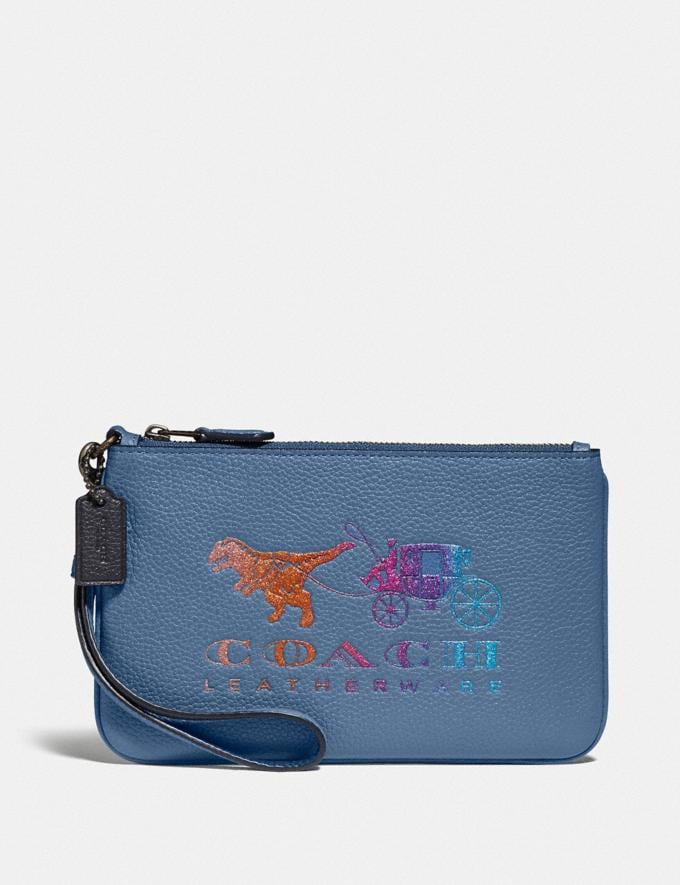 Coach Small Wristlet With Rexy and Carriage Pewter/Stone Blue New Featured Rexy Collection