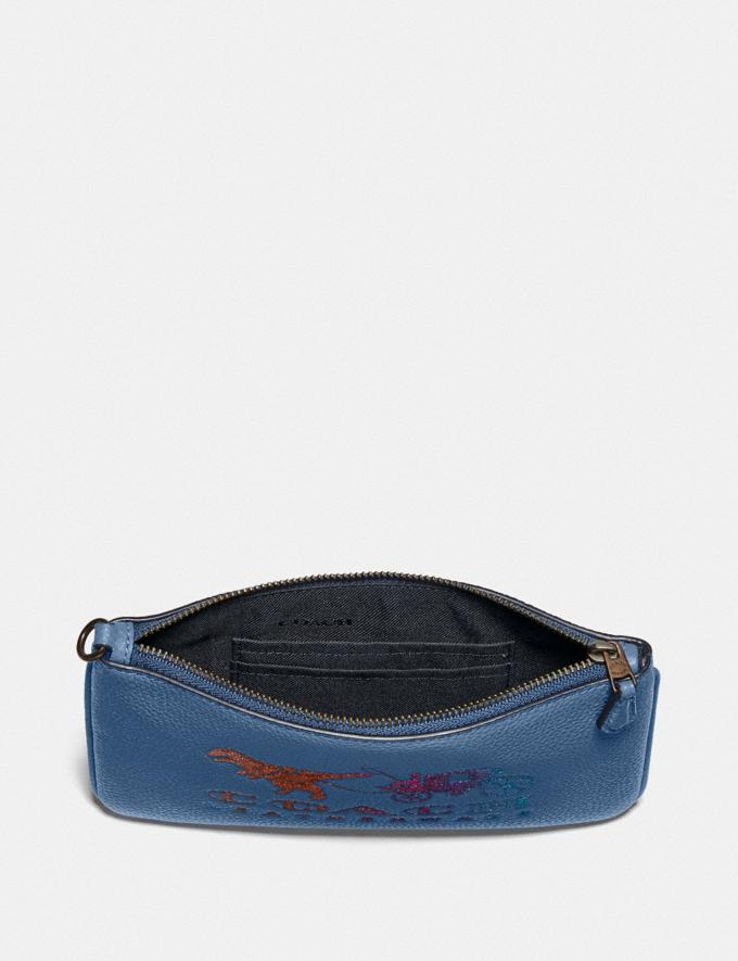 Coach Small Wristlet With Rexy and Carriage Pewter/Stone Blue New Featured Rexy Collection Alternate View 2