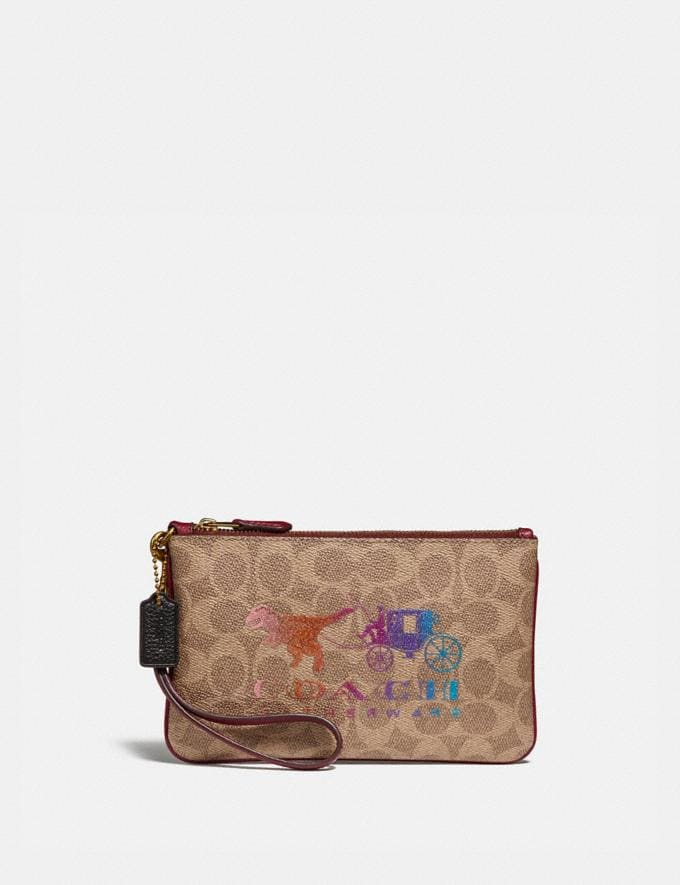 Coach Small Wristlet in Signature Canvas With Rexy and Carriage Brass/Tan Deep Red Women Wallets & Wristlets Wristlets