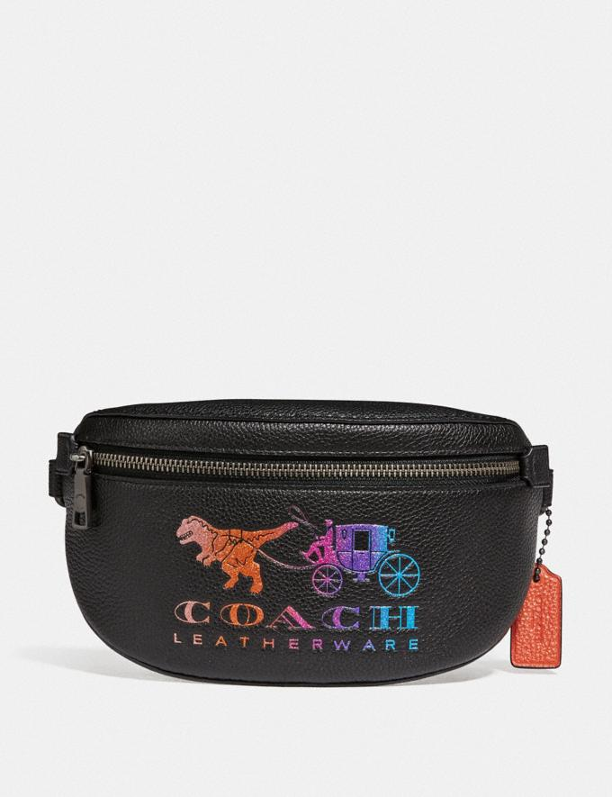 Coach Belt Bag With Rexy and Carriage Pewter/Black New Featured Rexy Collection