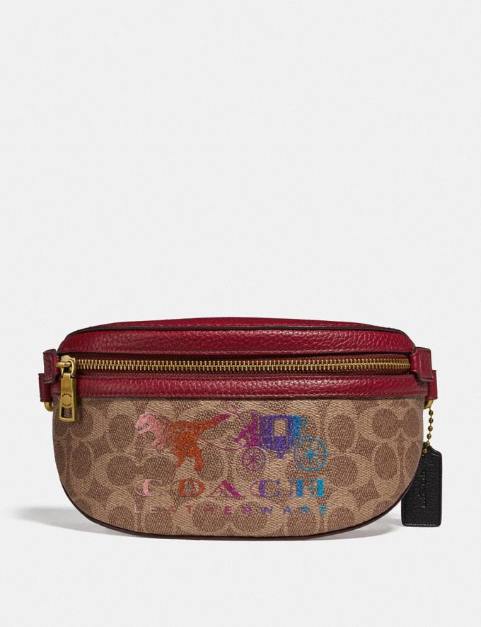 Coach Belt Bag in Signature Canvas With Rexy and Carriage Brass/Tan Deep Red New Featured Rexy Collection
