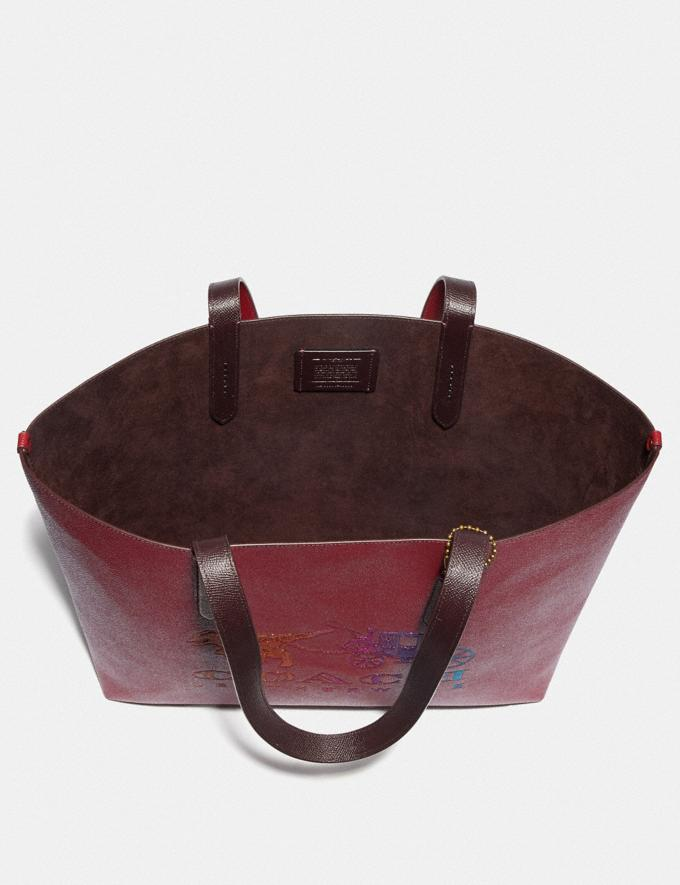 Coach Highline Tote With Rexy and Carriage Brass/Deep Red Multi Women Handbags Diaper Bags Alternate View 3