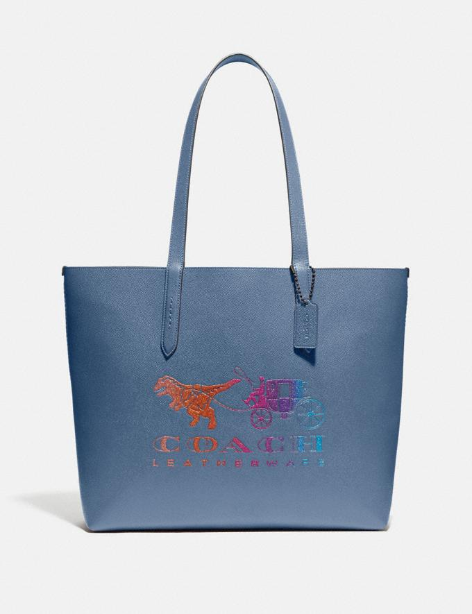 Coach Highline Tote With Rexy and Carriage Pewter/Stone Blue Multi