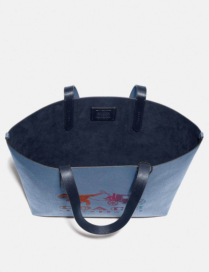 Coach Highline Tote With Rexy and Carriage Pewter/Stone Blue Multi Women Handbags Diaper Bags Alternate View 3