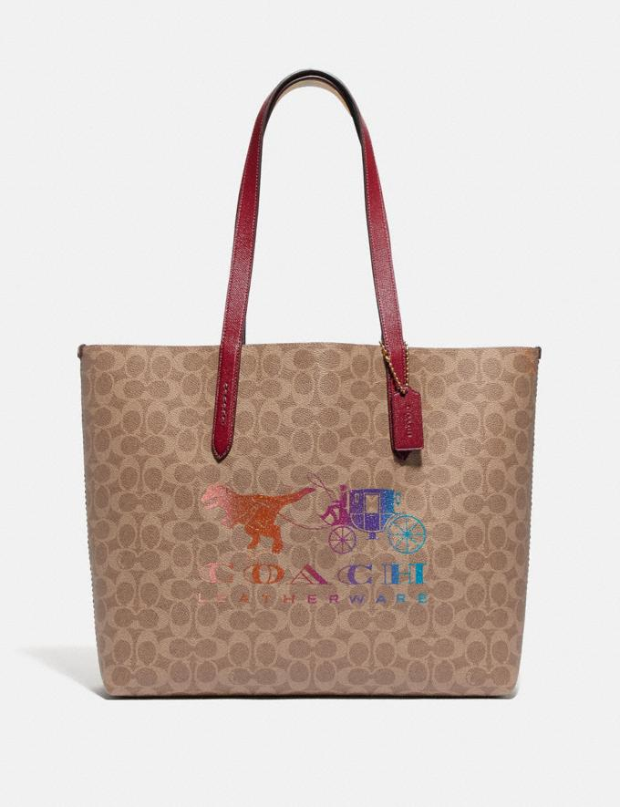 Coach Highline Tote in Signature Canvas With Rexy and Carriage Brass/Tan Deep Red Multi Women Handbags Diaper Bags