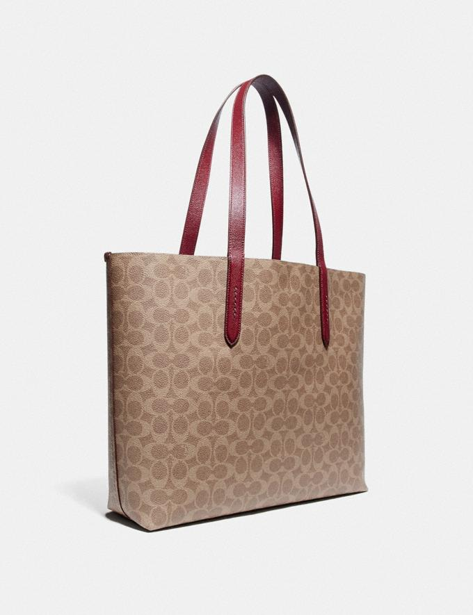 Coach Highline Tote in Signature Canvas With Rexy and Carriage Brass/Tan Deep Red Multi Women Handbags Diaper Bags Alternate View 1