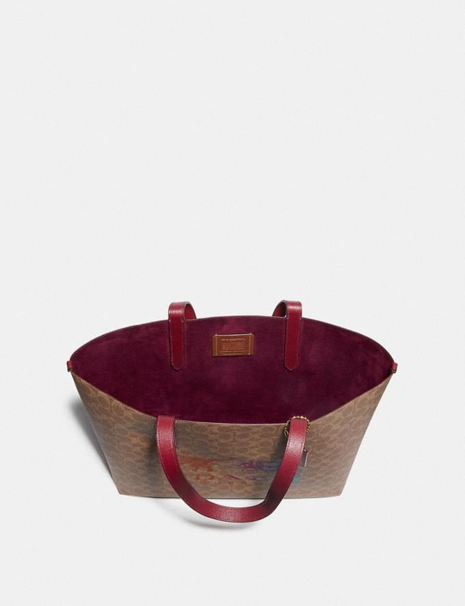 Coach Highline Tote in Signature Canvas With Rexy and Carriage Brass/Tan Deep Red Multi Women Handbags Diaper Bags Alternate View 3