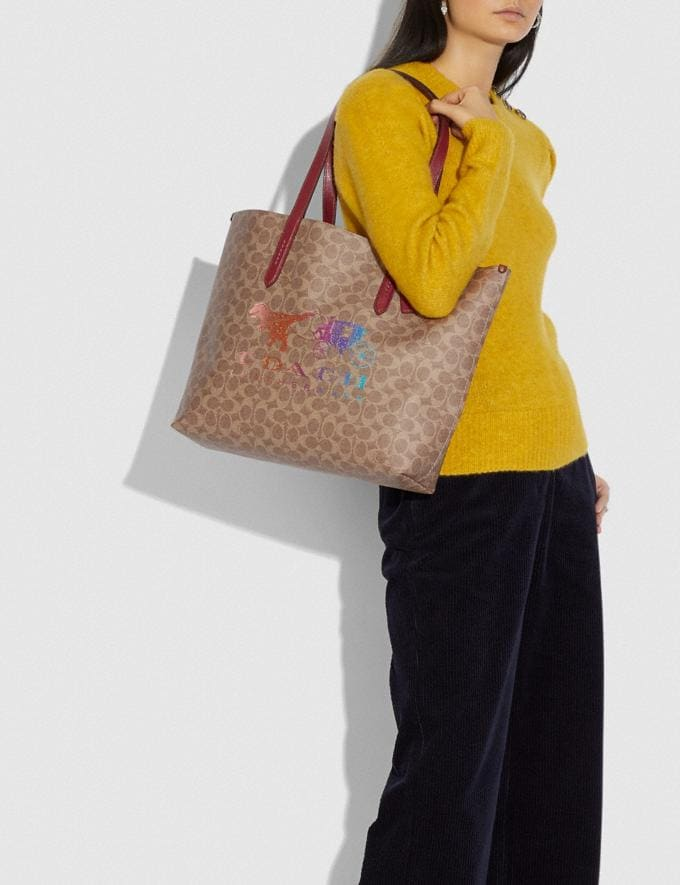 Coach Highline Tote in Signature Canvas With Rexy and Carriage Brass/Tan Deep Red Multi Women Handbags Diaper Bags Alternate View 4