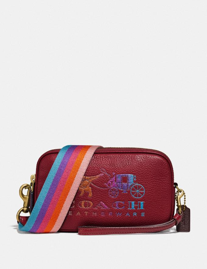 Coach Sadie Crossbody Clutch With Rexy and Carriage Brass/Deep Red New Featured Rexy Collection