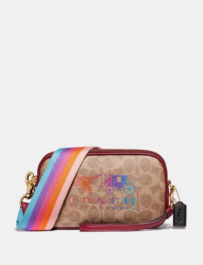 Coach Sadie Crossbody Clutch in Signature Canvas With Rexy and Carriage Brass/Tan Deep Red Women Handbags Crossbody Bags