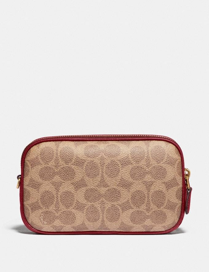 Coach Sadie Crossbody Clutch in Signature Canvas With Rexy and Carriage Brass/Tan Deep Red Women Handbags Crossbody Bags Alternate View 2