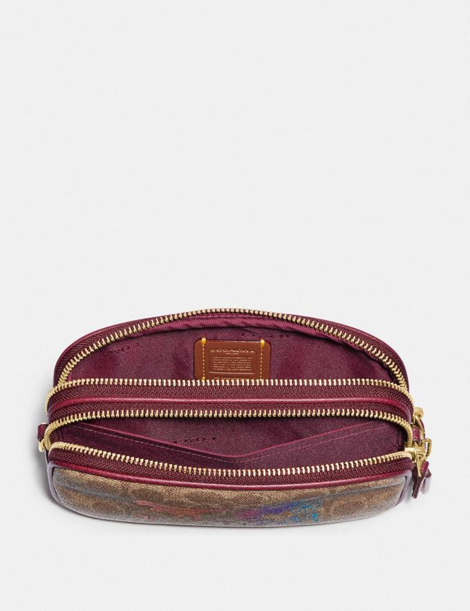 Coach Sadie Crossbody Clutch in Signature Canvas With Rexy and Carriage Brass/Tan Deep Red Women Handbags Crossbody Bags Alternate View 3