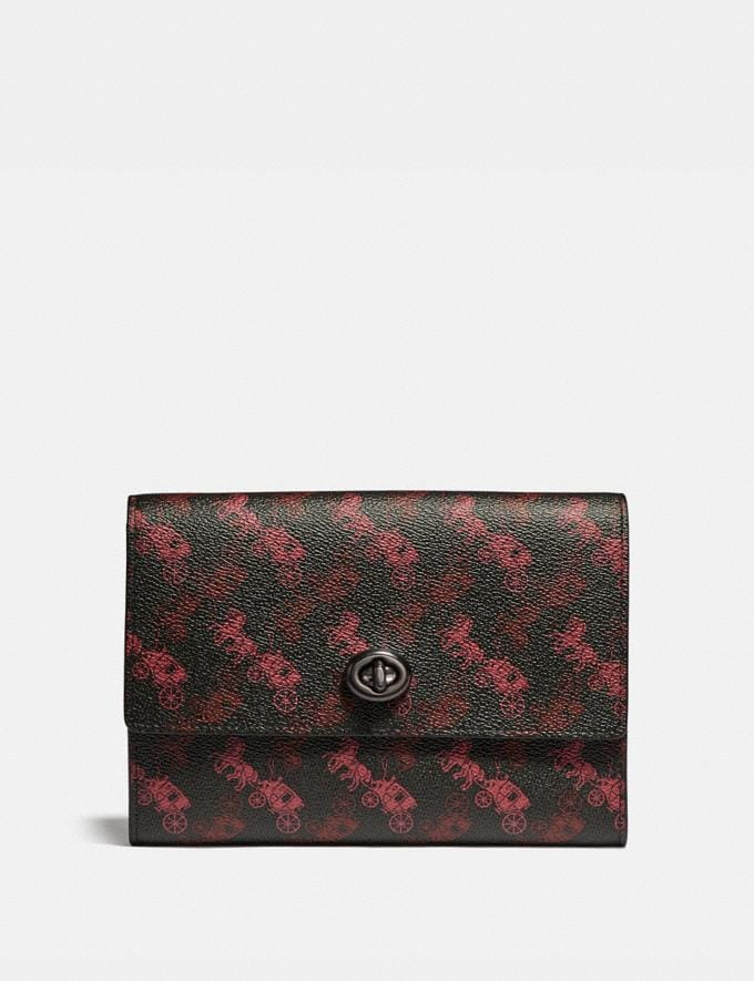 Coach Pouch With Horse and Carriage Print Black/Red Men Edits Travel