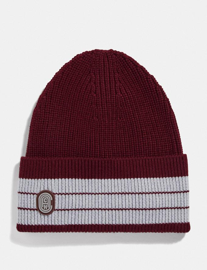 Coach Beanie Burgundy/Grey Gifts Holiday Shop Stocking Fillers For Him