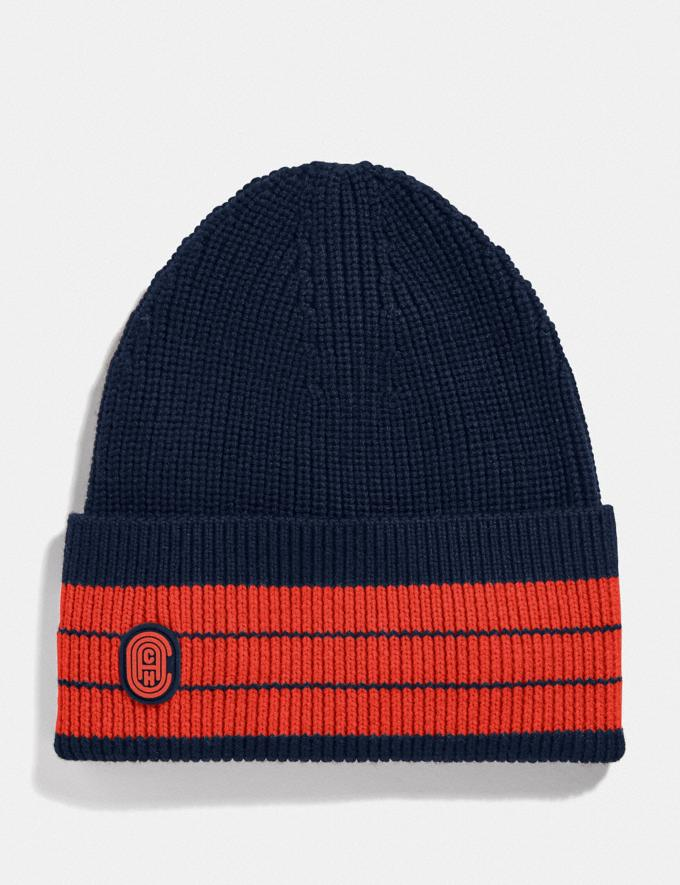 Coach Beanie Blue/Orange Men Ready-to-Wear Hats Scarves & Gloves