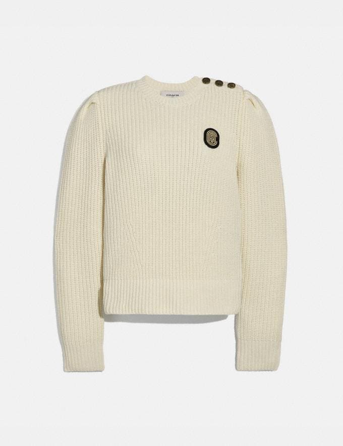 Coach Full Sleeve Crewneck Sweater Ivory New Women's New Arrivals Ready-to-Wear