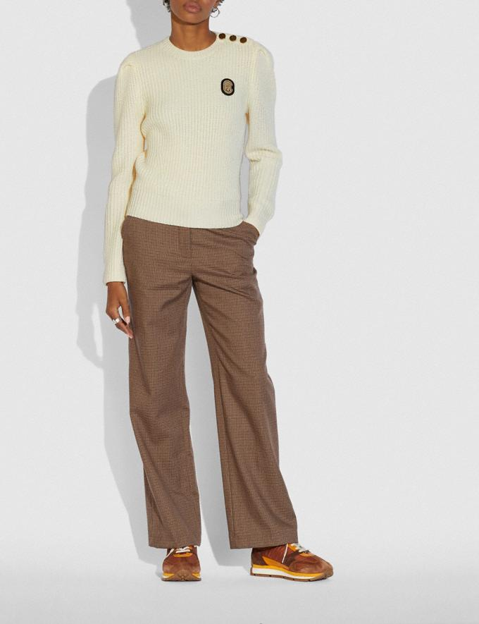 Coach Full Sleeve Crewneck Sweater Ivory New Women's New Arrivals Ready-to-Wear Alternate View 1