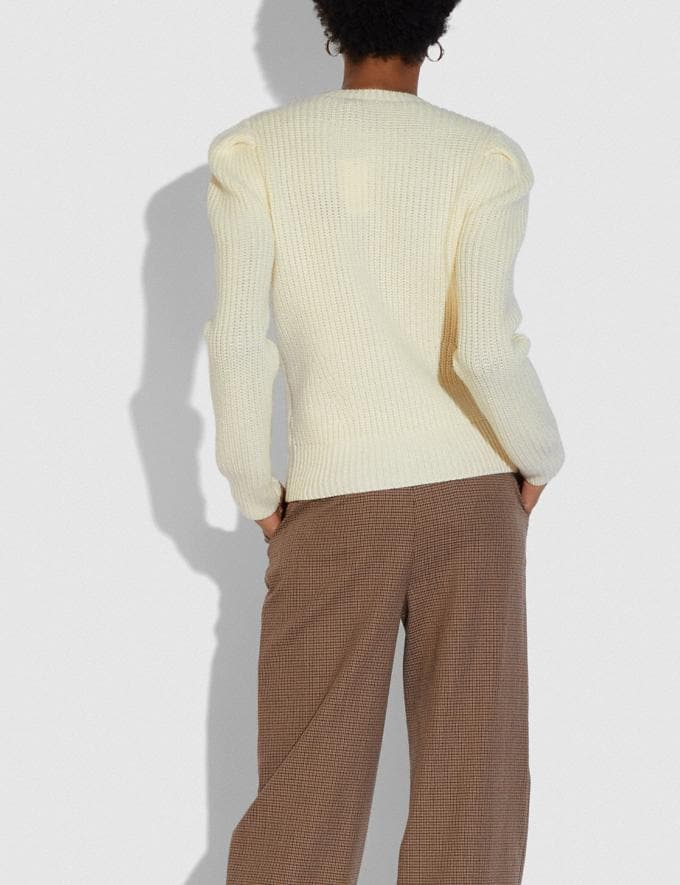Coach Full Sleeve Crewneck Sweater Ivory New Women's New Arrivals Ready-to-Wear Alternate View 2