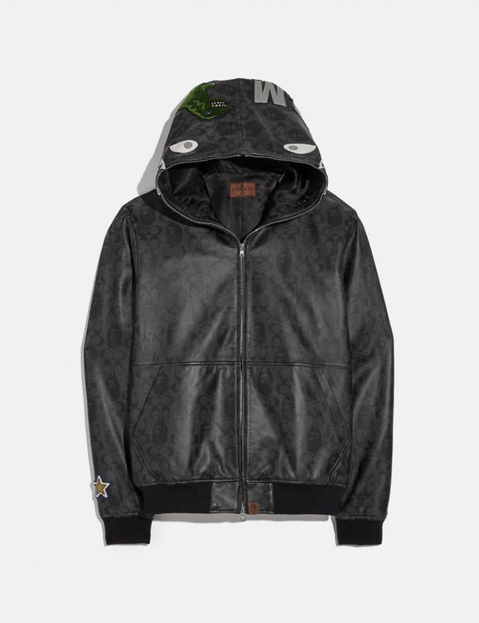 Coach Bape X Coach Shark Leather Jacket Black Multi