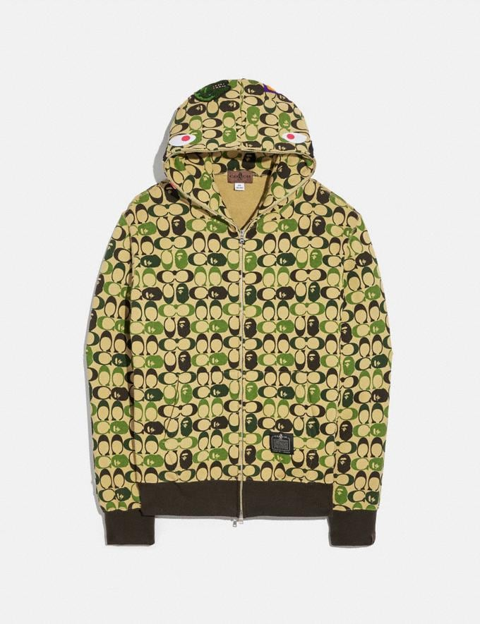 Coach Bape X Coach Shark Full Zip Hoodie Camo Multi Men Ready-to-Wear Tops & Bottoms
