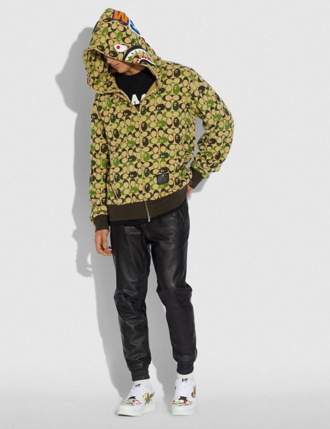 Coach Bape X Coach Shark Full Zip Hoodie Camo Multi Men Ready-to-Wear Tops & Bottoms Alternate View 1