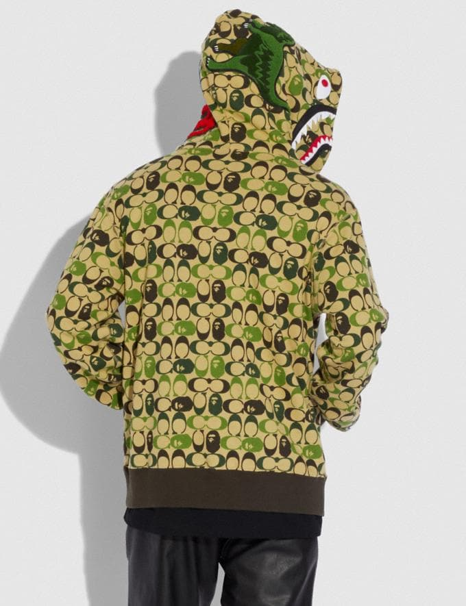 Coach Bape X Coach Shark Full Zip Hoodie Camo Multi Men Ready-to-Wear Tops & Bottoms Alternate View 2