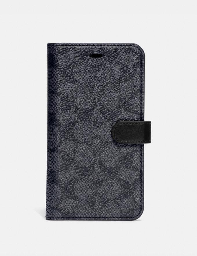 Coach iPhone 11 Folio in Signature Canvas Charcoal Women Accessories Tech & Work