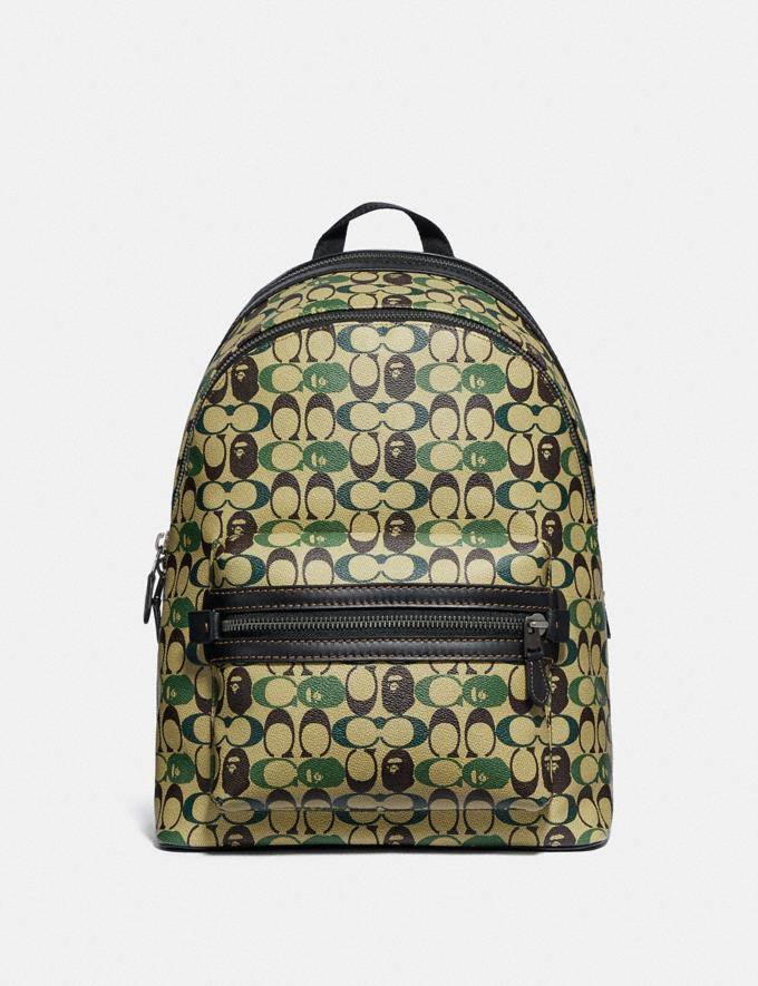 Coach Bape X Coach Academy Backpack in Signature Canvas With Ape Head Black Copper/Camo Multi