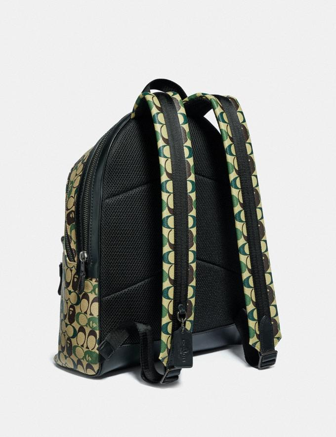 Coach Bape X Coach Academy Backpack in Signature Canvas With Ape Head Black Copper/Camo Multi  Alternate View 1