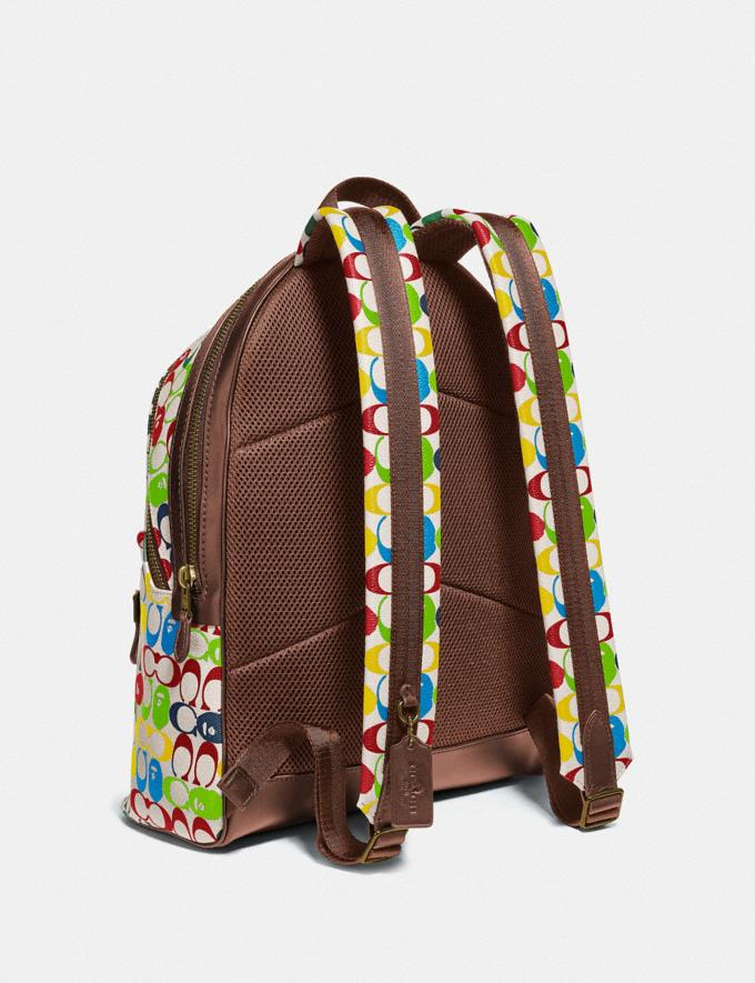 Coach Bape X Coach Academy Backpack in Signature Canvas With Ape Head Brass/Multi  Alternate View 1