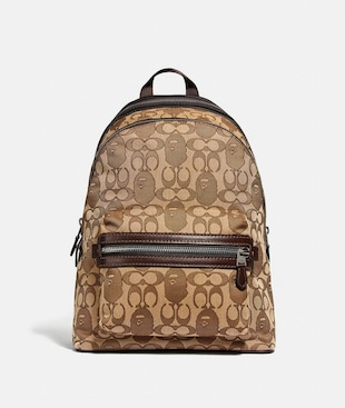 BAPE X COACH ACADEMY BACKPACK IN SIGNATURE JACQUARD WITH APE HEAD