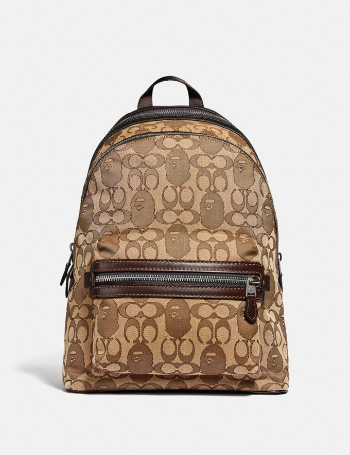 Coach Bape X Coach Academy Backpack in Signature Jacquard With Ape Head Light Antique Nickel/Khaki Men Bags Backpacks