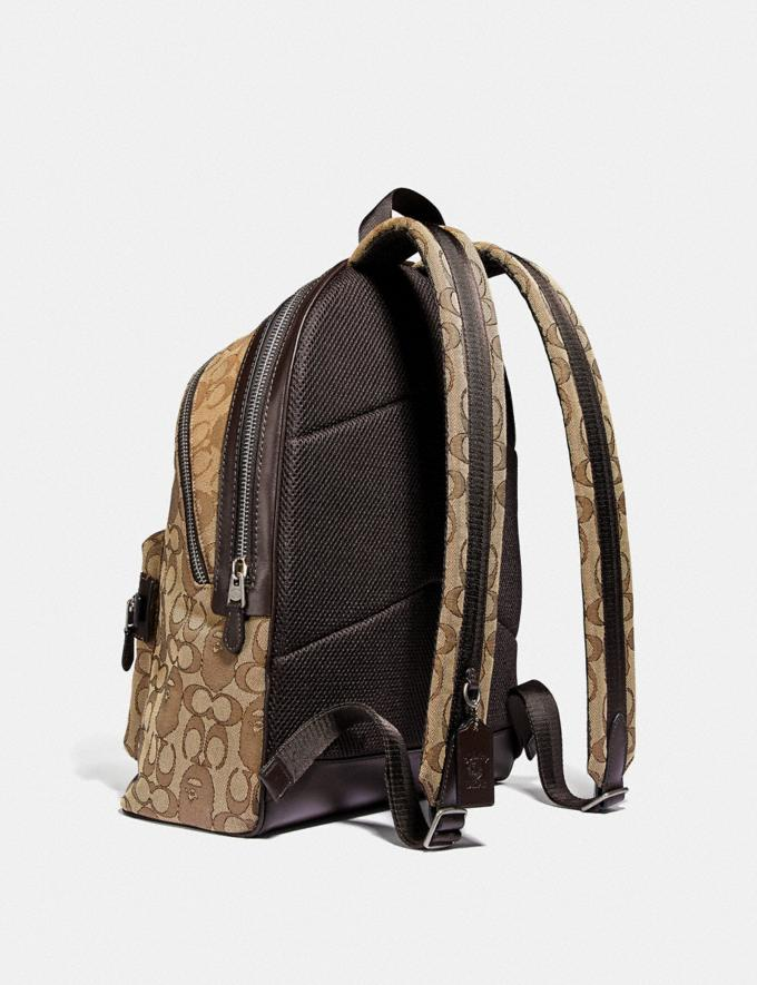 Coach Bape X Coach Academy Backpack in Signature Jacquard With Ape Head Light Antique Nickel/Khaki Men Bags Backpacks Alternate View 1