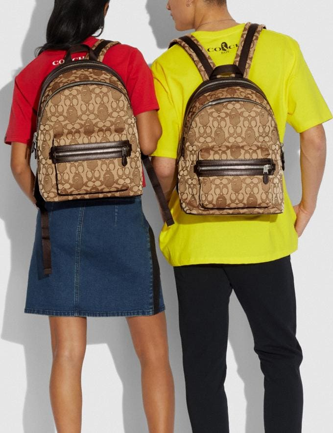 Coach Bape X Coach Academy Backpack in Signature Jacquard With Ape Head Light Antique Nickel/Khaki  Alternate View 3