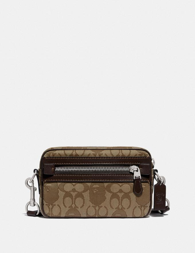 Coach Bape X Coach Academy Crossbody in Signature Jacquard With Ape Head Light Antique Nickel/Khaki