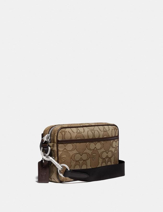 Coach Bape X Coach Academy Crossbody in Signature Jacquard With Ape Head Light Antique Nickel/Khaki  Alternate View 1