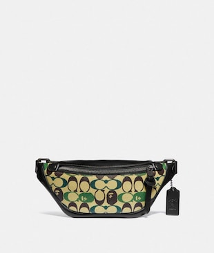 BAPE X COACH RIVINGTON BELT BAG 7 IN SIGNATURE CANVAS WITH APE HEAD