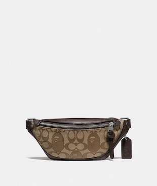 BAPE X COACH RIVINGTON BELT BAG 7 IN SIGNATURE JACQUARD WITH APE HEAD
