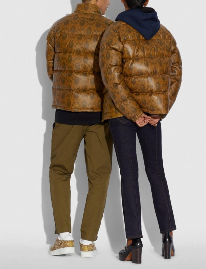 Coach Bape X Coach Leather Down Jacket Brown Multi  Alternate View 2