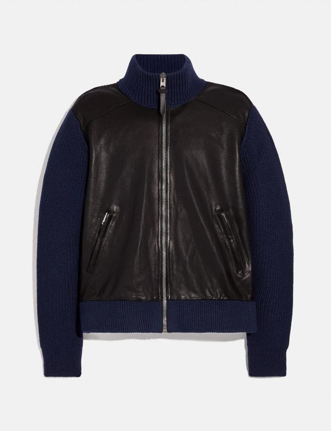 Coach Zip Leather Sweater Jacket Navy/Black
