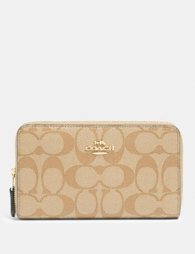 Coach Medium Zip Around Wallet in Signature Canvas Im/Light Khaki Chalk Accessories Wallets