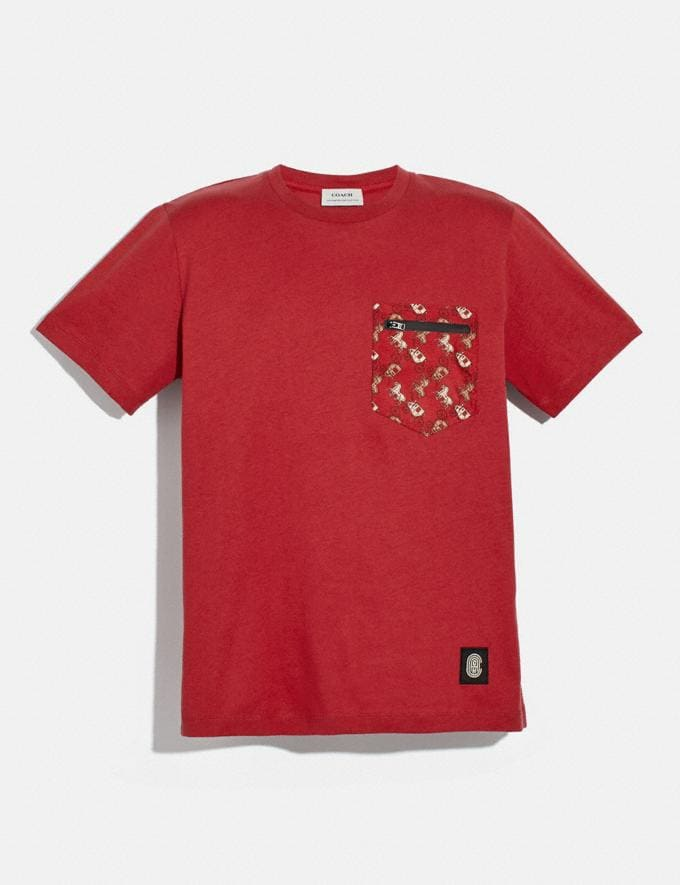 Coach Lunar New Year Nylon Detail T-Shirt Red New Men's New Arrivals Ready-to-Wear