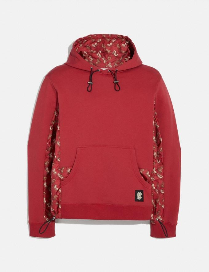 Coach Lunar New Year Nylon Detail Hoodie Red New Men's New Arrivals Ready-to-Wear
