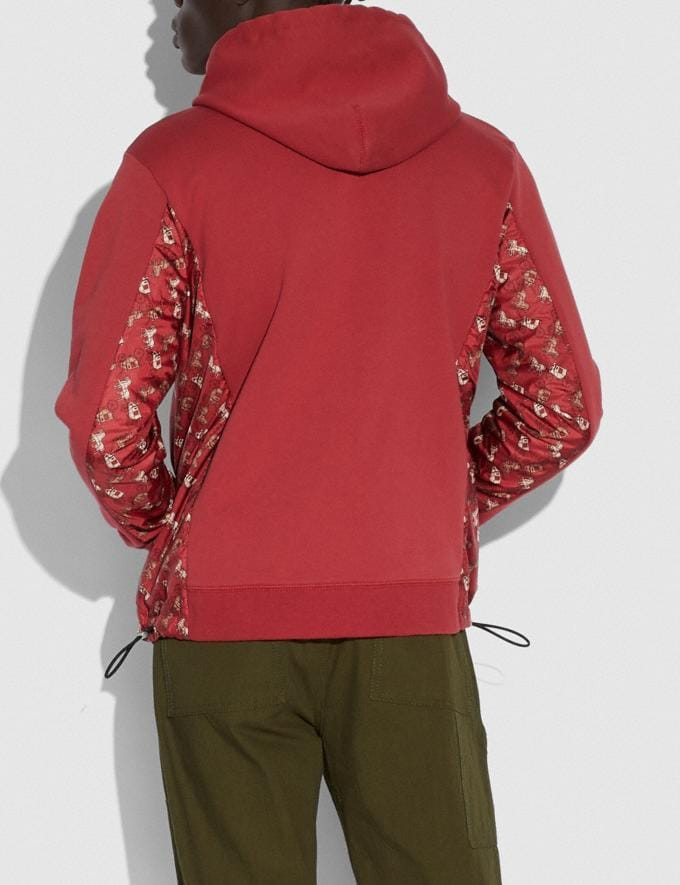 Coach Lunar New Year Nylon Detail Hoodie Red New Men's New Arrivals Ready-to-Wear Alternate View 2