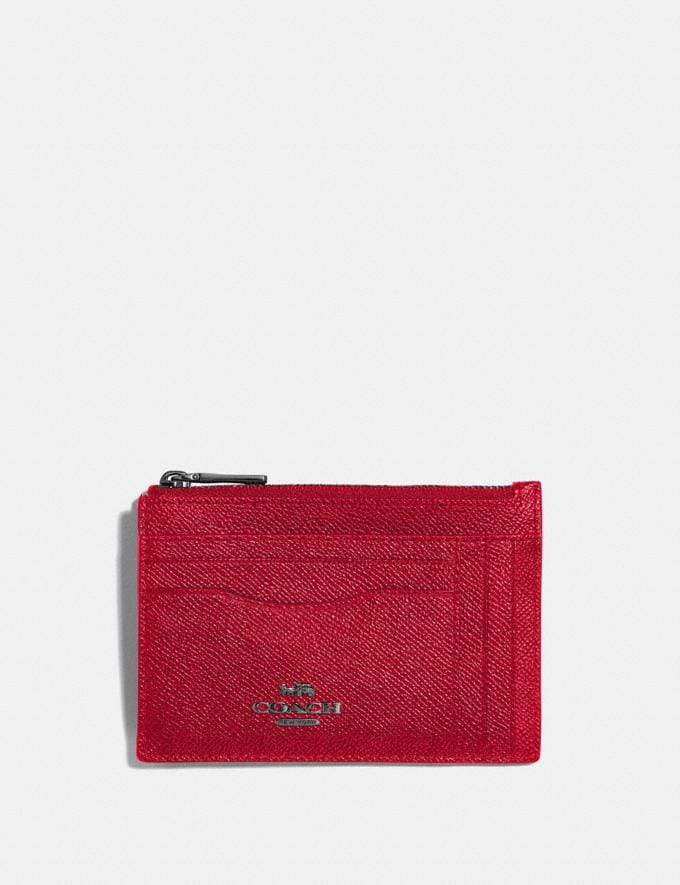 Coach Large Card Case Pewter/Red Apple Women Wallets & Wristlets Card Cases