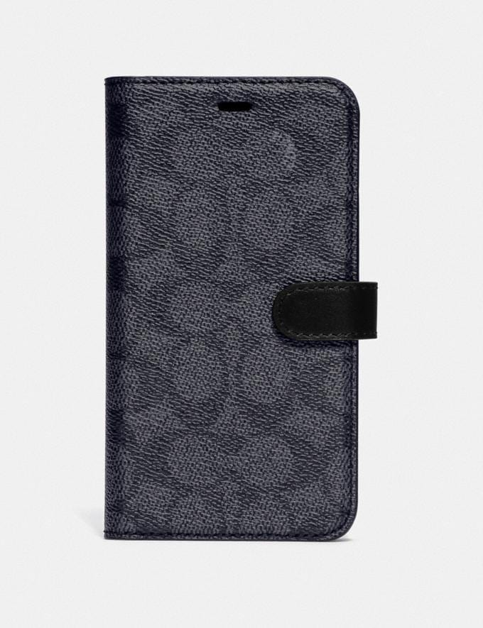 Coach iPhone Xr Folio in Signature Canvas Charcoal Women Accessories Phone Cases