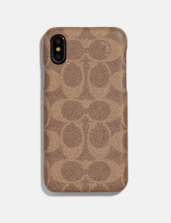 Coach iPhone Xs Max Case in Signature Canvas Tan Women Accessories Phone Cases