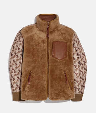 HORSE AND CARRIAGE PRINT SHEARLING MA-1 JACKET