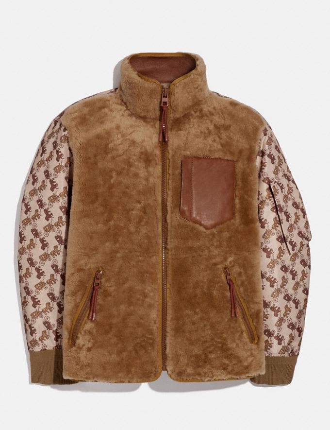 Coach Horse and Carriage Print Shearling Ma-1 Jacket Light Camel SALEDDD Men's Sale